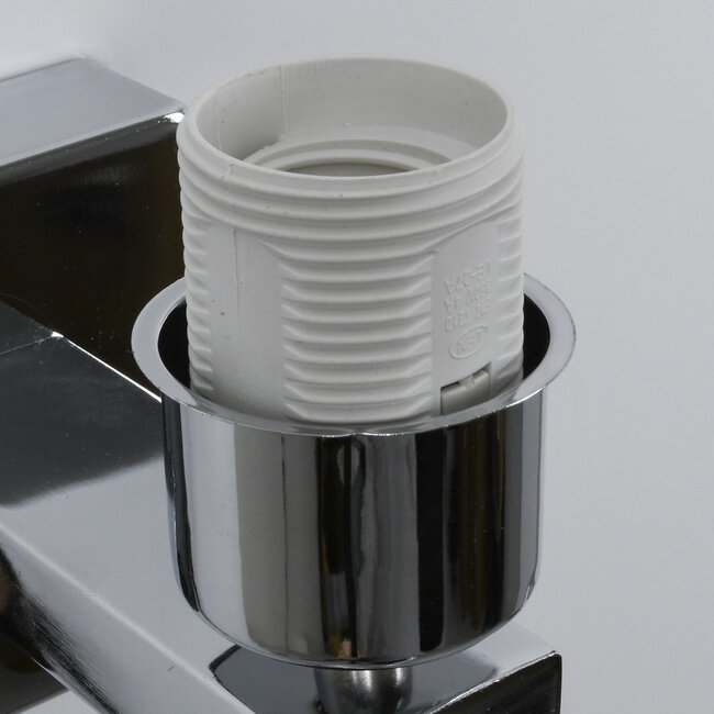 ELEGANT 01495 Μοντέρνο Φωτιστικό Τοίχου Απλίκα Μεταλλικό Χρώμιο Νίκελ με Λευκό Ύφασμα Δίφωτο 1xE27 - Ρυθμίζόμενο Σώμα Σπιράλ με CREE LED 3W Θερμό Λευκό 2700K - Διακόπτες On / Off Μ17 x Π21 x Υ43cm - 8