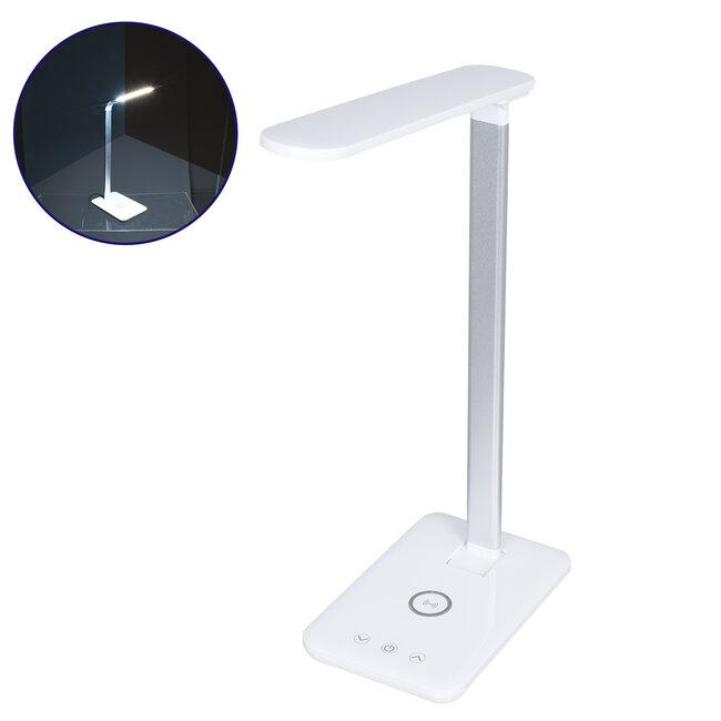 WASP 76532 Μοντέρνο Φωτιστικό Γραφείου Λευκό LED 10 Watt 1000lm DC 5V Αφής & Καλώδιο Τροφοδοσίας USB με Ασύρματη Φόρτιση - Wireless Charger - CCT Θερμό Λευκό 2700K - Φυσικό Λευκό 4500K - Ψυχρό Λευκό 6000K Dimmable - 2