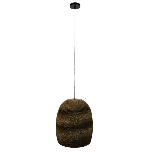 Vintage Κρεμαστό Φωτιστικό Οροφής Μονόφωτο 3D από Επεξεργασμένο Σκληρό Καφέ Χαρτόνι Καμπάνα Φ35  SKIATHOS 01296 - 2