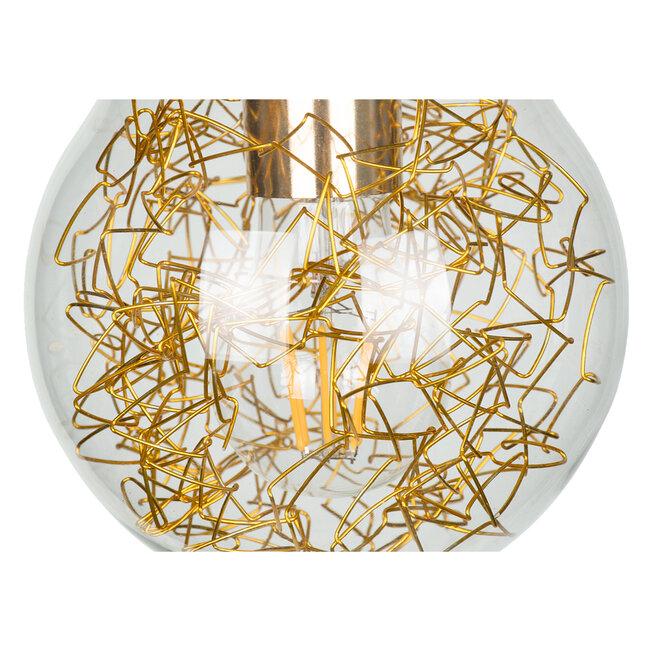 LAMP 00807 Μοντέρνο Κρεμαστό Φωτιστικό Οροφής Μονόφωτο Ασημί Νίκελ Βάση και Χρυσό Ντουί Μεταλλικό Διάφανο Γυαλί Φ15 x Υ27cm - 7