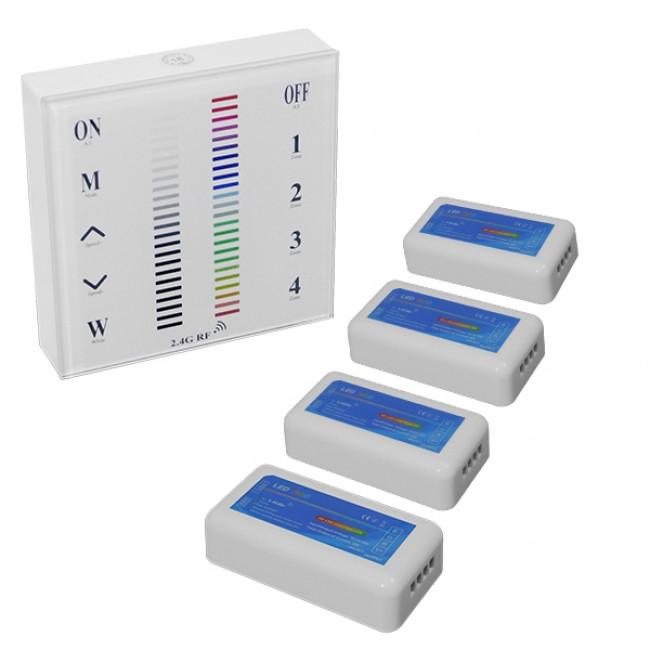Σετ Ασύρματο RF 2.4G LED Controller Τοίχου Αφής RGB 12-24 Volt 576/1152 Watt για Τέσσερα Group GloboStar 04054