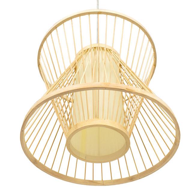 GloboStar® DE PARIS 01632 Vintage Κρεμαστό Φωτιστικό Οροφής Μονόφωτο Μπεζ Ξύλινο Bamboo Φ35 x Y32cm - 5
