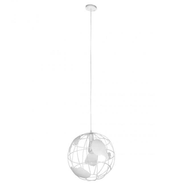 Vintage Industrial Κρεμαστό Φωτιστικό Οροφής Μονόφωτο Λευκό Μεταλλικό Πλέγμα Φ40 GloboStar EARTH WHITE 40CM 01664 - 2