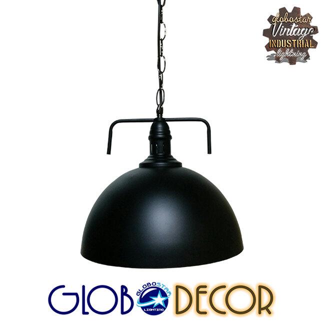 Vintage Κρεμαστό Φωτιστικό Οροφής Μονόφωτο Μαύρο Μεταλλικό Καμπάνα Φ31  LARKIN BLACK 01175 - 4