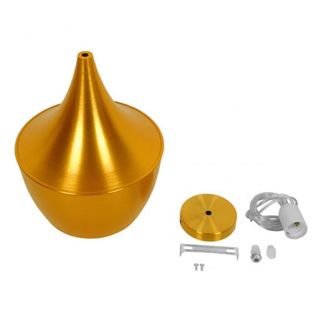 Μοντέρνο Κρεμαστό Φωτιστικό Οροφής Μονόφωτο Χρυσό Μεταλλικό Καμπάνα Φ24 GloboStar NADONG 01544 - 6
