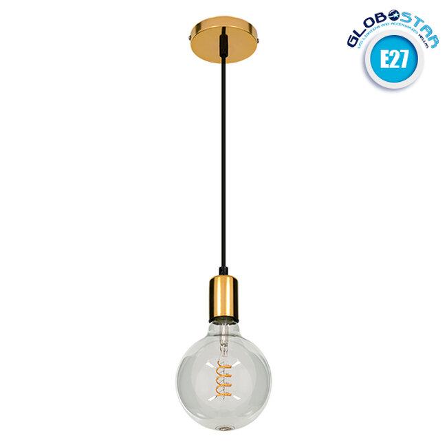 GloboStar® LUMI GOLD 99421 Μοντέρνο Μεταλλικό Κρεμαστό Φωτιστικό Οροφής Ανάρτηση με Ντουί E27 Μονόφωτο Χρυσό Φ4 x Y118cm