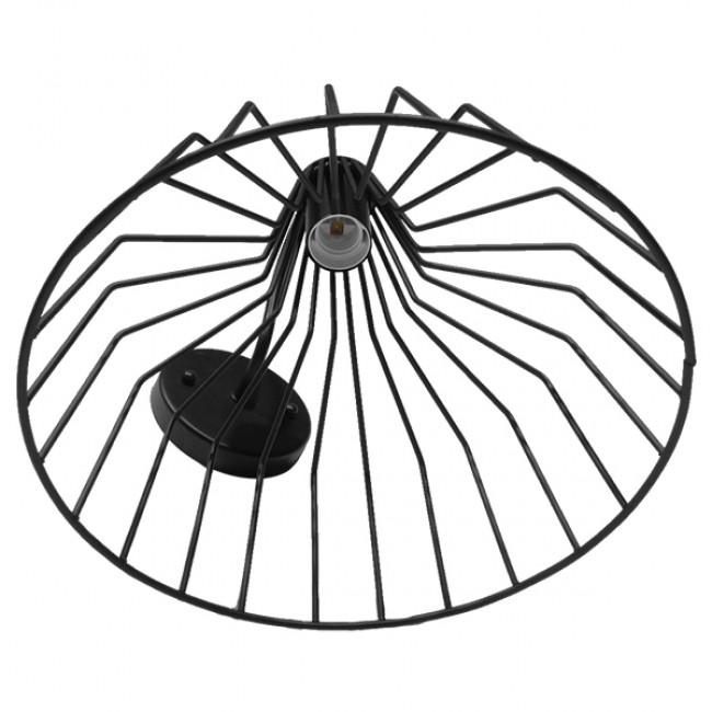 Vintage Industrial Φωτιστικό Τοίχου Απλίκα Μονόφωτο Μαύρο Μεταλλικό Πλέγμα Καμπάνα Φ30 GloboStar TRIUMPH 01117 - 5
