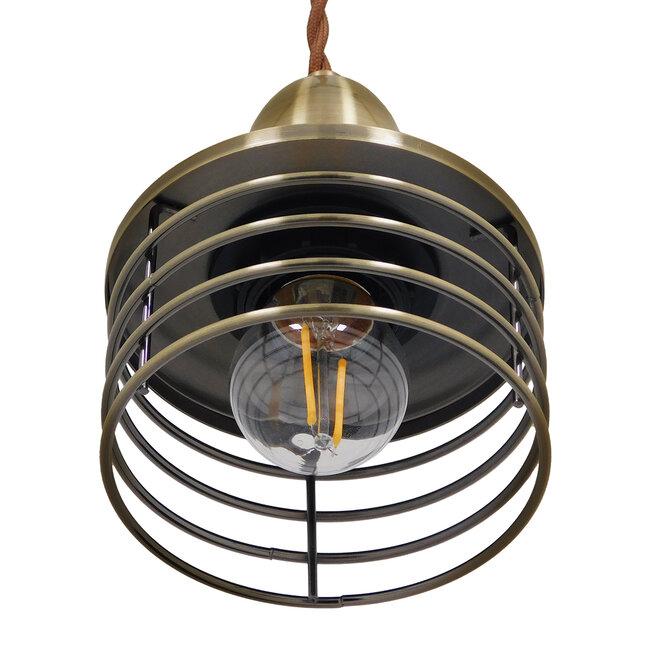 Μοντέρνο Industrial Κρεμαστό Φωτιστικό Οροφής Μονόφωτο Μεταλλικό Μπρούτζινο Καμπάνα Φ11  MANHATTAN BRONZE 01455 - 6