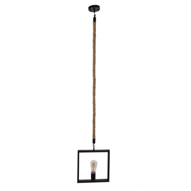 Vintage Κρεμαστό Φωτιστικό Οροφής Μονόφωτο Μαύρο Μεταλλικό με Μπεζ Σχοινί GloboStar FRAISE 01077 - 2