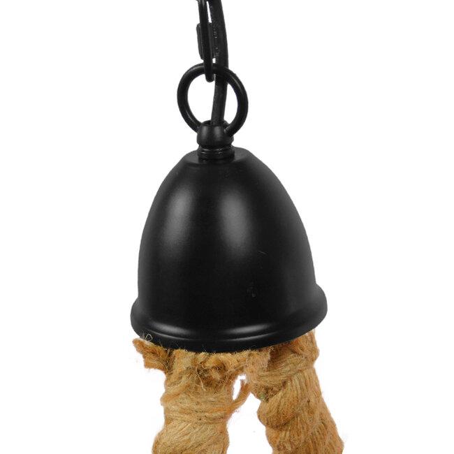 Vintage Κρεμαστό Φωτιστικό Οροφής Πολύφωτο Μαύρο Μεταλλικό με Μπεζ Σχοινί Φ40  HAMTINE 01229 - 3