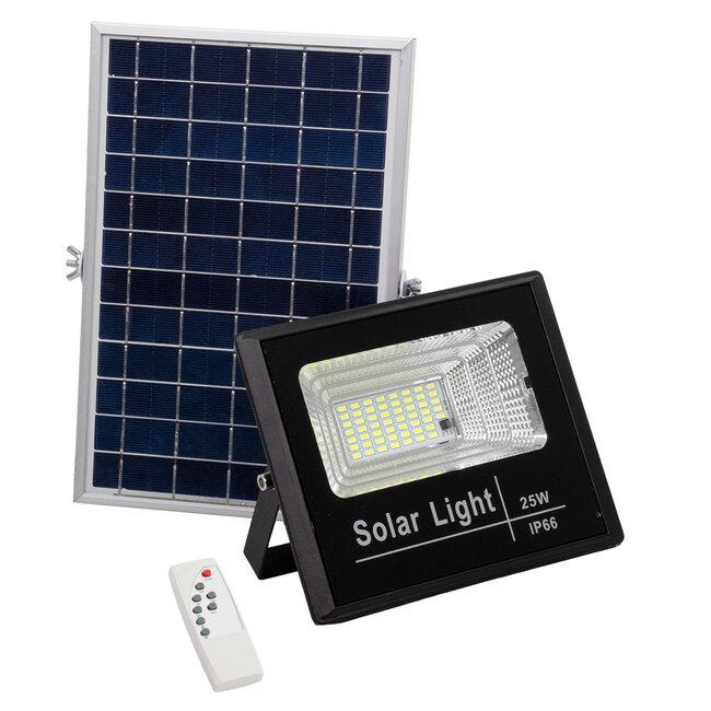 71554 Αυτόνομος Ηλιακός Προβολέας LED SMD 25W 2000lm με Ενσωματωμένη Μπαταρία 3000mAh - Φωτοβολταϊκό Πάνελ με Αισθητήρα Ημέρας-Νύχτας και Ασύρματο Χειριστήριο RF 2.4Ghz Αδιάβροχος IP66 Ψυχρό Λευκό 6000K - 2