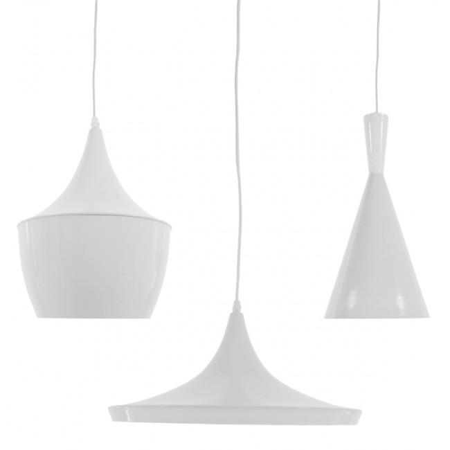 SET 3 Μοντέρνα Κρεμαστά Φωτιστικά Οροφής Μονόφωτα Λευκά Μεταλλικά Καμπάνα  SHANGHAI WHITE 01026 - 3