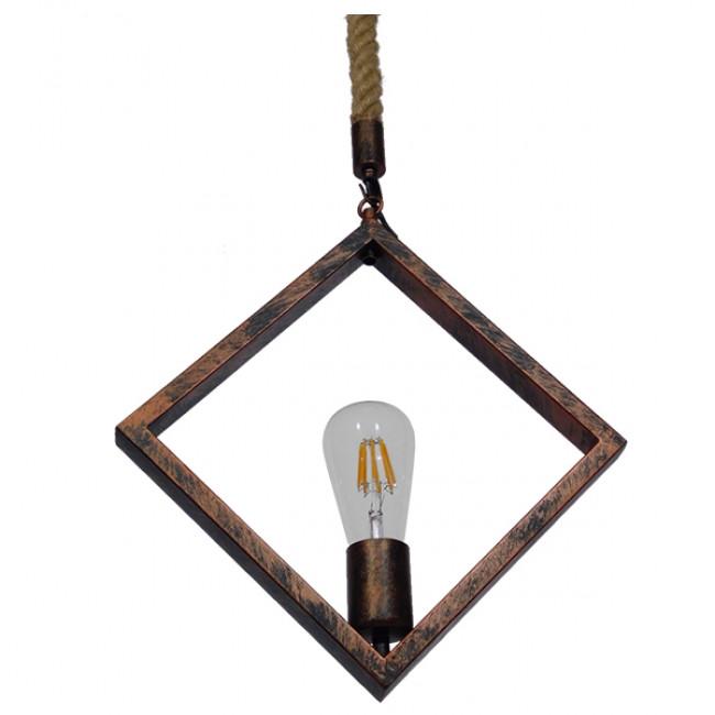 Vintage Industrial Κρεμαστό Φωτιστικό Οροφής Μονόφωτο Καφέ Σκουριά Μεταλλικό με Μπεζ Σχοινί GloboStar ALCO 01023 - 5
