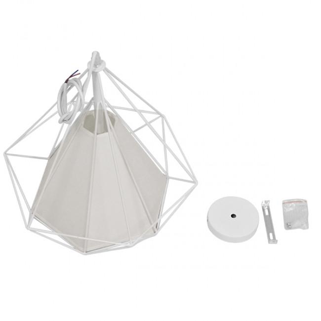 Μοντέρνο Industrial Κρεμαστό Φωτιστικό Οροφής Μονόφωτο Λευκό με Ύφασμα Μεταλλικό Πλέγμα Φ38 GloboStar KAIRI WHITE 01619 - 8
