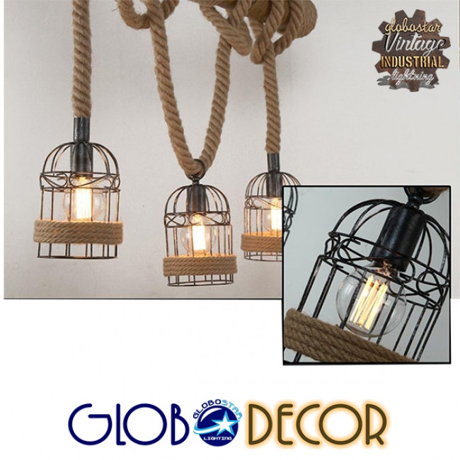 Vintage Κρεμαστό Φωτιστικό Οροφής Τρίφωτο Καφέ Ξύλινο Bamboo με Μπεζ Σχοινί  LILO 01149 - 3