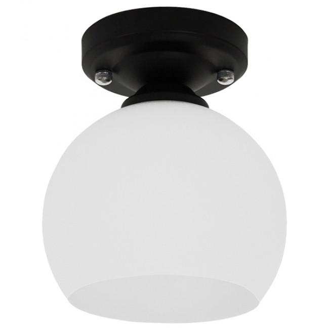 Μοντέρνο Φωτιστικό Οροφής Μονόφωτο Μαύρο με Λευκό Ματ Γυαλί Καμπάνα Φ13 GloboStar MAURA 01318