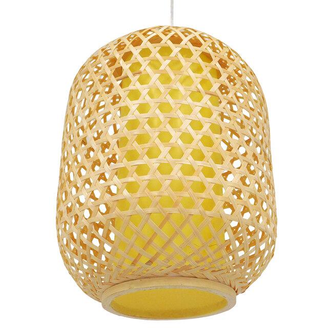 Vintage Κρεμαστό Φωτιστικό Οροφής Μονόφωτο Καφέ Ξύλινο Bamboo Φ30  MAURITIUS Φ30 00899 - 6