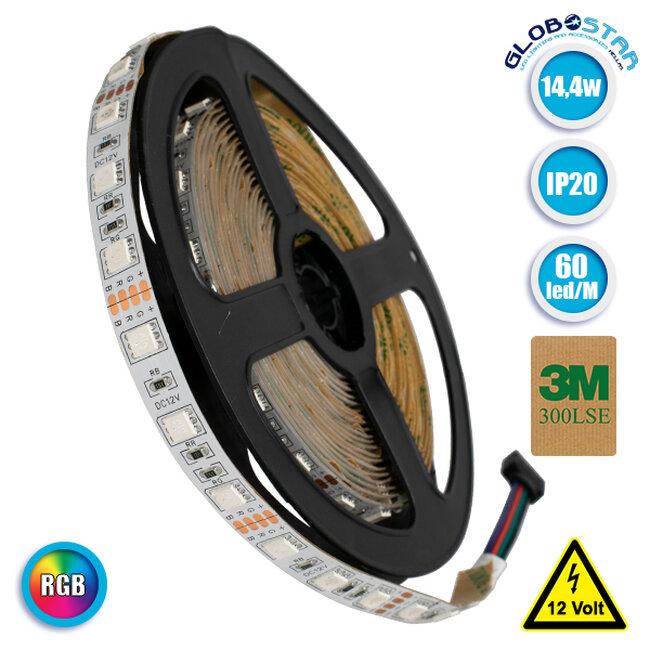 Ταινία LED 5050 SMD 5m 14.4W/m 60LED/m 600 lm/m 120° DC 12V IP20 RGB GloboStar 70029 - 1