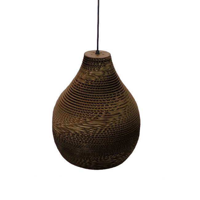 Vintage Κρεμαστό Φωτιστικό Οροφής Μονόφωτο 3D από Επεξεργασμένο Σκληρό Καφέ Χαρτόνι Καμπάνα Φ30  MYKONOS 01292 - 6