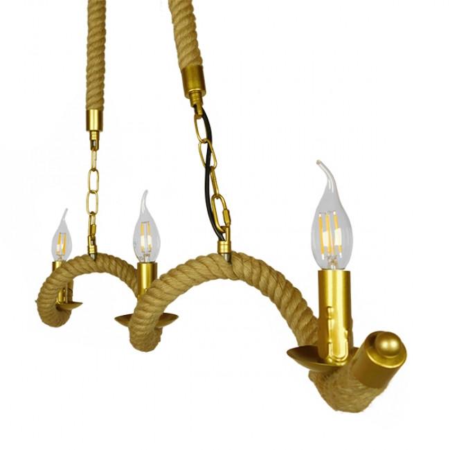 Vintage Κρεμαστό Φωτιστικό Οροφής Τρίφωτο Χρυσό Μεταλλικό με Μπεζ Σχοινί GloboStar LUXOR 01598 - 3