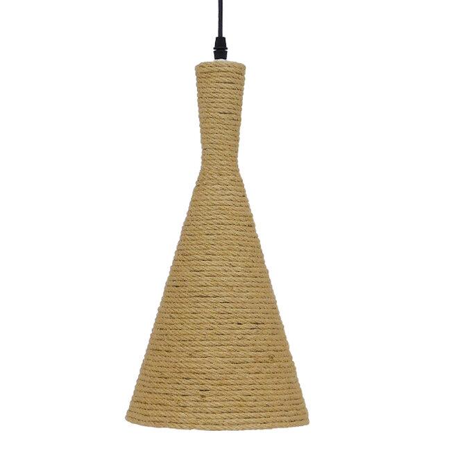 Vintage Κρεμαστό Φωτιστικό Οροφής Μονόφωτο με Μπεζ Σχοινί Καμπάνα  BEIJING Φ20 00918 - 4