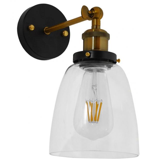 Vintage  Φωτιστικό Τοίχου Απλίκα Μονόφωτο Χρυσό Μεταλλικό με Γυάλινη Καμπάνα Φ14 GloboStar LYDIA 01071