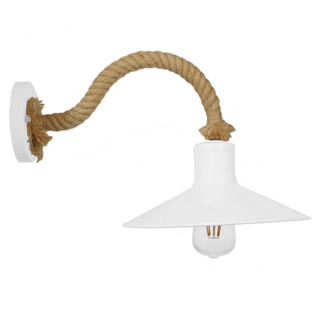 Vintage Φωτιστικό Τοίχου Απλίκα Μονόφωτο Λευκό Μεταλλικό Καμπάνα με Μπεζ Σχοινί Φ27 GloboStar VINSA 01130 - 5