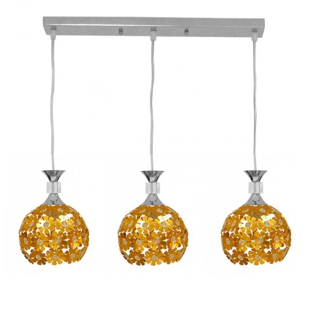 Μοντέρνο Κρεμαστό Φωτιστικό Οροφής Τρίφωτο Χρυσό Μεταλλικό με Κρύσταλλα GloboStar MARGARO 01671 - 1