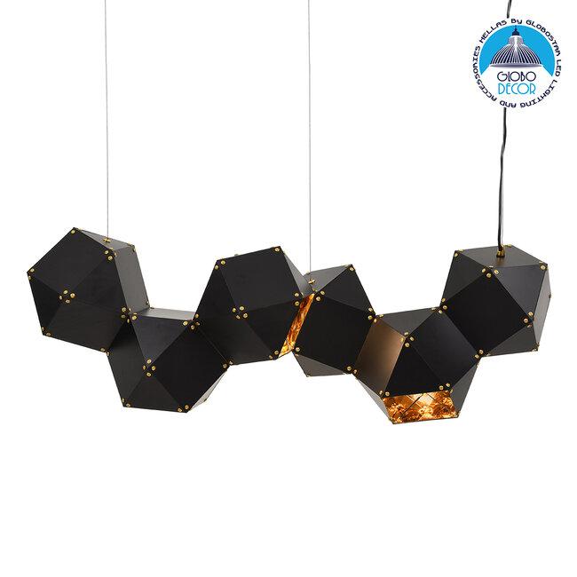 WELLES Replica 00797 Μοντέρνο Κρεμαστό Φωτιστικό Οροφής Πολύφωτο Μεταλλικό Μαύρο Χρυσό Μ98 x Π32 x Υ30cm - 1
