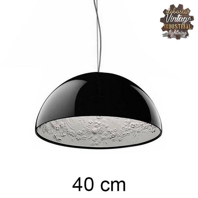 Μοντέρνο Κρεμαστό Φωτιστικό Οροφής Μονόφωτο Μαύρο Γύψινο Καμπάνα Φ40  SERENIA BLACK 01151 - 2