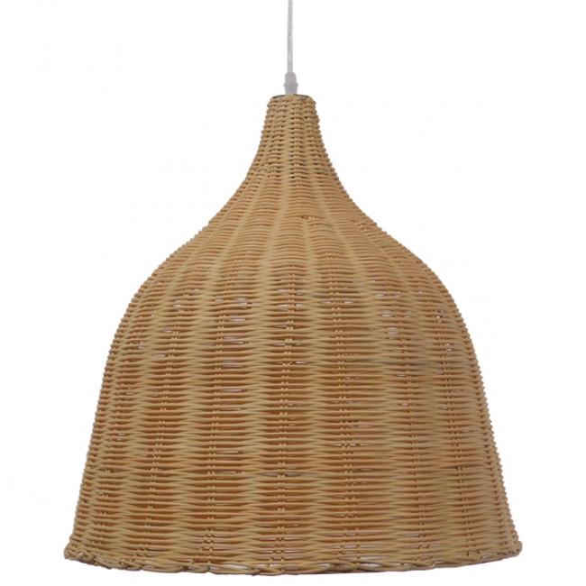 Vintage Κρεμαστό Φωτιστικό Οροφής Μονόφωτο Μπεζ Ξύλινο Ψάθινο Rattan Φ45  NATH 01203 - 3