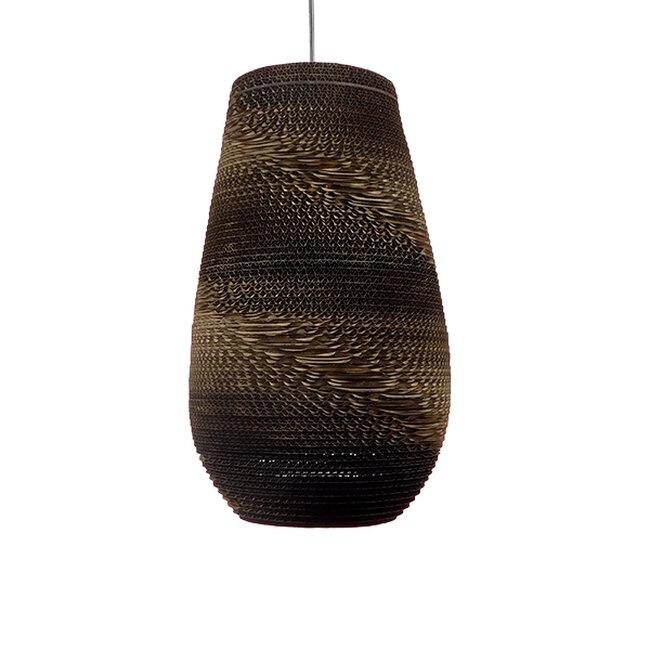 Vintage Κρεμαστό Φωτιστικό Οροφής Μονόφωτο 3D από Επεξεργασμένο Σκληρό Καφέ Χαρτόνι Καμπάνα Φ25  IKARIA 01294 - 4