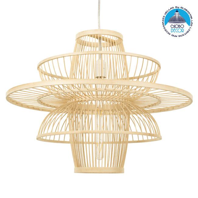 BALI 00862 Vintage Κρεμαστό Φωτιστικό Οροφής Μονόφωτο Μπεζ Ξύλινο Bamboo Φ60 x Y45cm - 1