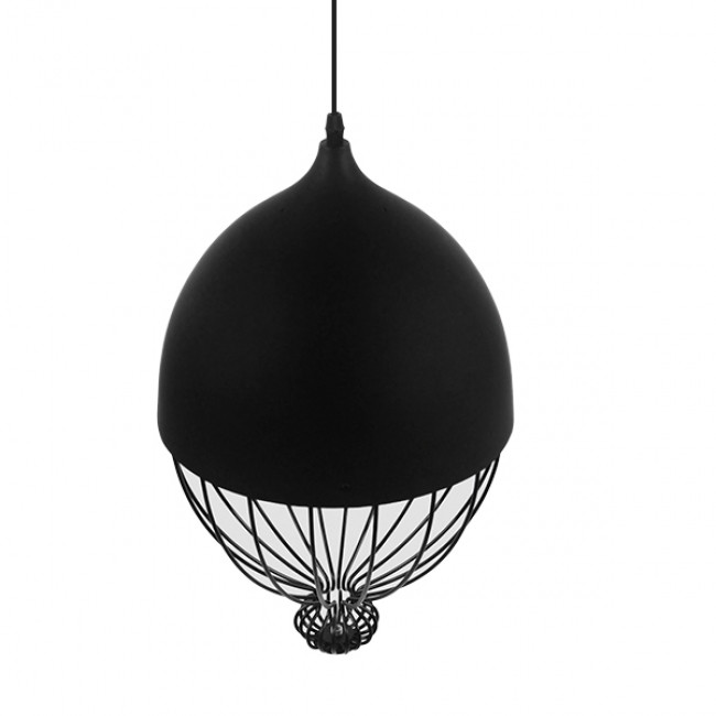 Vintage Κρεμαστό Φωτιστικό Οροφής Μονόφωτο Μαύρο Μεταλλικό Πλέγμα Φ28 GloboStar CANARIO 01107 - 5
