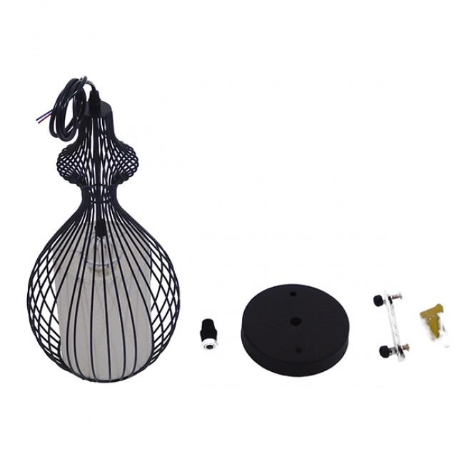 Μοντέρνο Κρεμαστό Φωτιστικό Οροφής Μονόφωτο Μαύρο Μεταλλικό Πλέγμα με Υφασμάτινο Εσωτερικό Καπέλο Φ21 GloboStar THYDA 01197 - 10