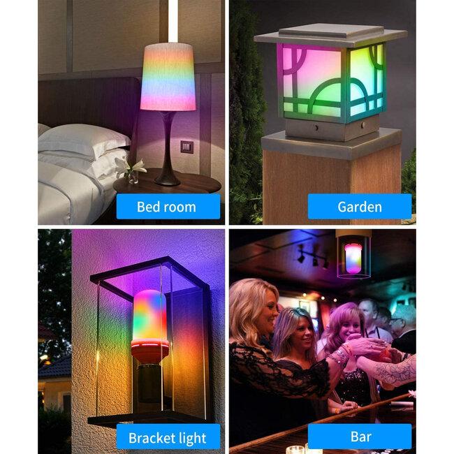 GloboStar® 76076 Λάμπα E27 TUBULAR Διακοσμητική LED 9W 450lm 320° AC 85-265V με 4 Λειτουργίες Εφέ RGB Φλόγας και Αναστροφή RGB Φλόγας - 9