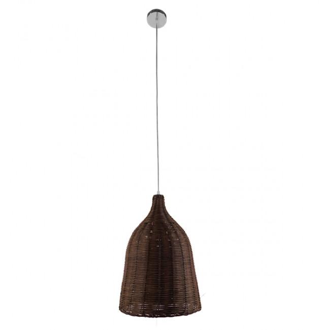 Vintage Κρεμαστό Φωτιστικό Οροφής Μονόφωτο Καφέ Σκούρο Ξύλινο Ψάθινο Rattan Φ30 GloboStar NELLY 01367 - 2