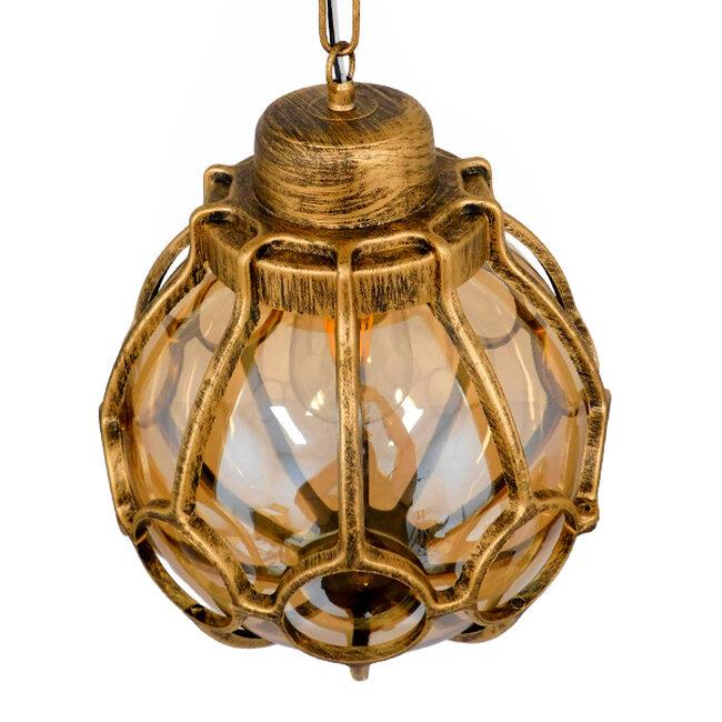 ETOILE 00987 Vintage Industrial Κρεμαστό Φωτιστικό Οροφής Μονόφωτο Μπρονζέ Χρυσό Μεταλλικό Πλέγμα με Μελί Γυαλί Φ28 x Υ38cm - 4