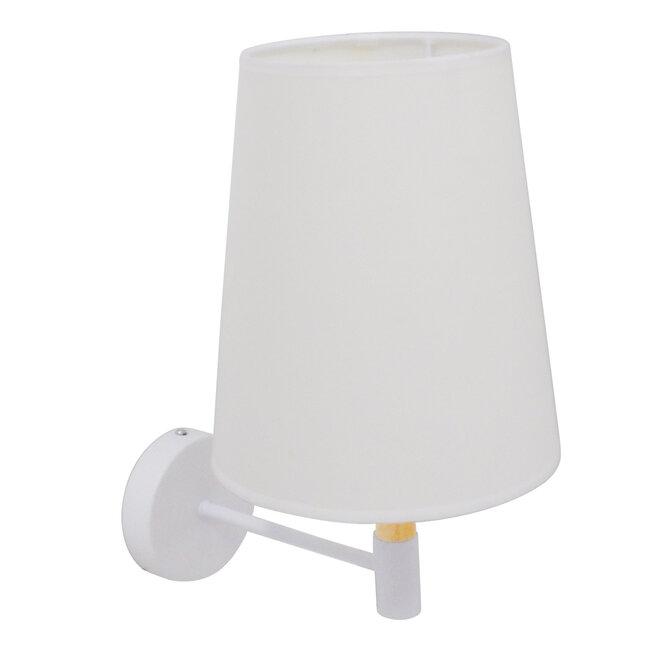 Μοντέρνο Φωτιστικό Τοίχου Απλίκα Μονόφωτο Λευκό με Μπέζ Ξύλο Μεταλλικό Φ20  LYDFORD WHITE 01433 - 7