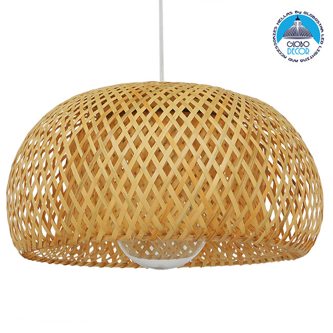 Vintage Κρεμαστό Φωτιστικό Οροφής Μονόφωτο Καφέ Ξύλινο Bamboo Φ38  SAN TROPEZ 01626 - 1