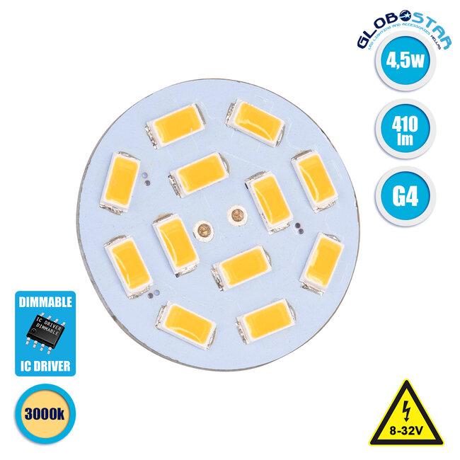 76103 Λάμπα G4 Back Pin LED 12 SMD 5630 4.5W 8V-32V 410lm 120° Θερμό Λευκό 3000K Dimmable