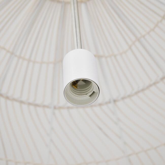 GloboStar® MALIBU 00965 Vintage Κρεμαστό Φωτιστικό Οροφής Μονόφωτο Μπεζ Ξύλινο Bamboo Φ97 x Y86cm - 7