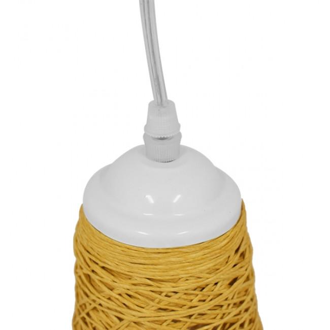 Vintage Κρεμαστό Φωτιστικό Οροφής Μονόφωτο Μπεζ Ξύλινο Ψάθινο Rattan Φ15 GloboStar INCASS 01625 - 6