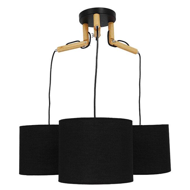 Μοντέρνο Κρεμαστό Φωτιστικό Οροφής Τρίφωτο Μαύρο με Ξύλο και Υφασμάτινα Καπελα Φ67  RAMSON BLACK 01525 - 4