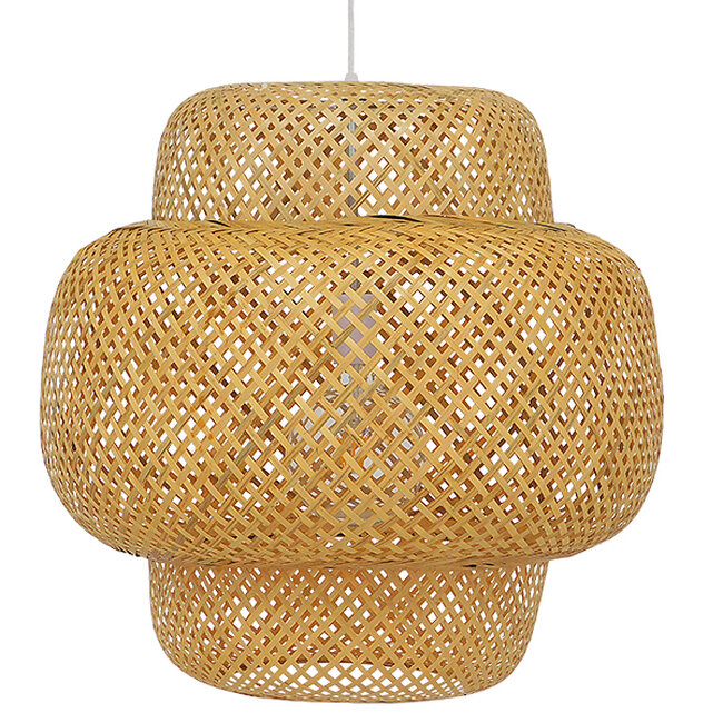 Vintage Κρεμαστό Φωτιστικό Οροφής Μονόφωτο Καφέ Ξύλινο Bamboo Φ56  MALVIDES LIGHT BROWN 01657 - 4