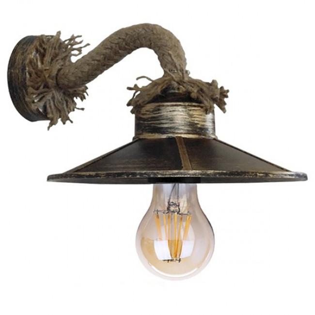 Vintage Φωτιστικό Τοίχου Απλίκα Μονόφωτο Μπρούτζινο Σκουριά Μεταλλικό με Καπέλο και με Μπεζ Σχοινί Φ27 GloboStar ROBLY 01125 - 1