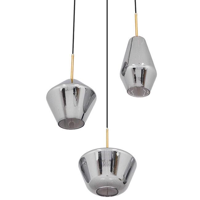Μοντέρνο Κρεμαστό Φωτιστικό Οροφής Τρίφωτο Μαύρο Φιμέ Νίκελ με Γυαλί Φ50  NEFELT 00976 - 4