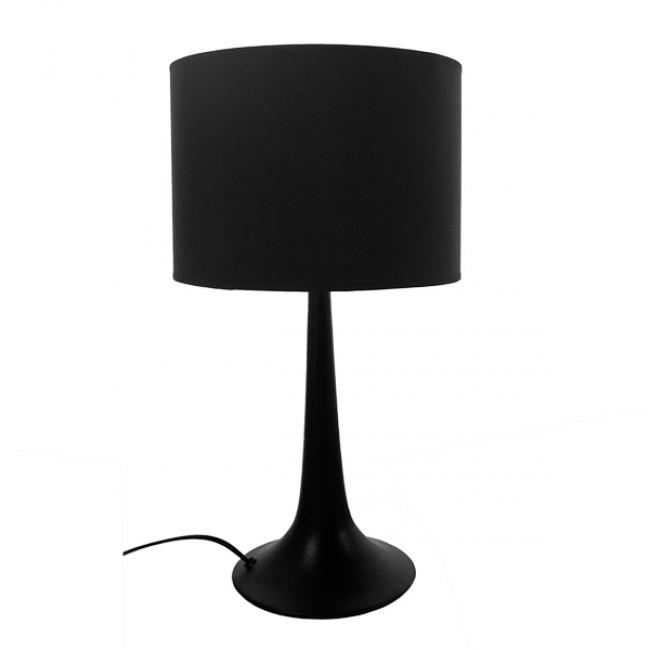 Μοντέρνο Επιτραπέζιο Φωτιστικό Πορτατίφ Μονόφωτο Μεταλλικό με Μαύρο Καπέλο Φ25 GloboStar AMBROSIA BLACK 01394 - 2
