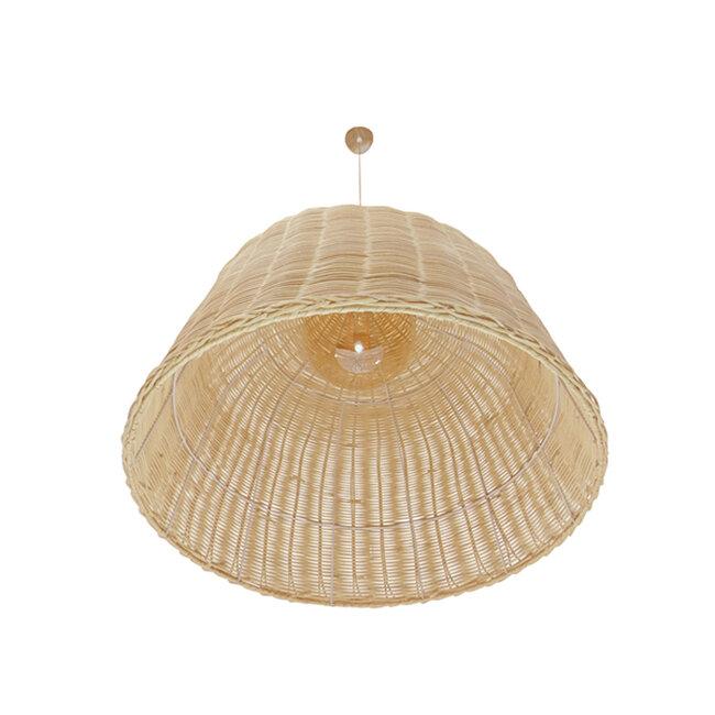 Vintage Κρεμαστό Φωτιστικό Οροφής Μονόφωτο Μπεζ Ξύλινο Ψάθινο Rattan Φ60  ROOSEVELT 01370 - 6