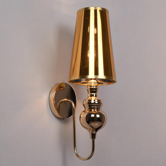 LAURA 01497 Μοντέρνο Φωτιστικό Τοίχου Απλίκα Μονόφωτο Μεταλλικό Χρυσό Φ15 x Μ15 x Π21 x Y48cm - 3